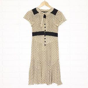 Nanette Lepore   Tan & Black Polkadot Dress w/Bow